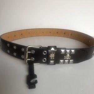 Accessories - skull head genuine leather  brown belt